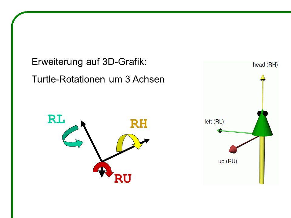 Erweiterung auf 3D-Grafik: Turtle-Rotationen um 3 Achsen RH RL RU