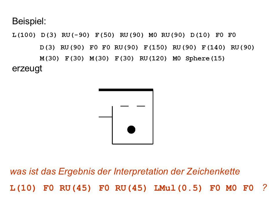 Beispiel: L(100) D(3) RU(-90) F(50) RU(90) M0 RU(90) D(10) F0 F0 D(3) RU(90) F0 F0 RU(90) F(150) RU(90) F(140) RU(90) M(30) F(30) M(30) F(30) RU(120) M0 Sphere(15) erzeugt was ist das Ergebnis der Interpretation der Zeichenkette L(10) F0 RU(45) F0 RU(45) LMul(0.5) F0 M0 F0