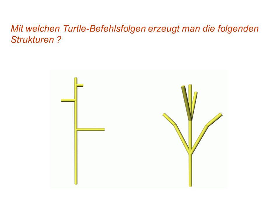 Mit welchen Turtle-Befehlsfolgen erzeugt man die folgenden Strukturen ?