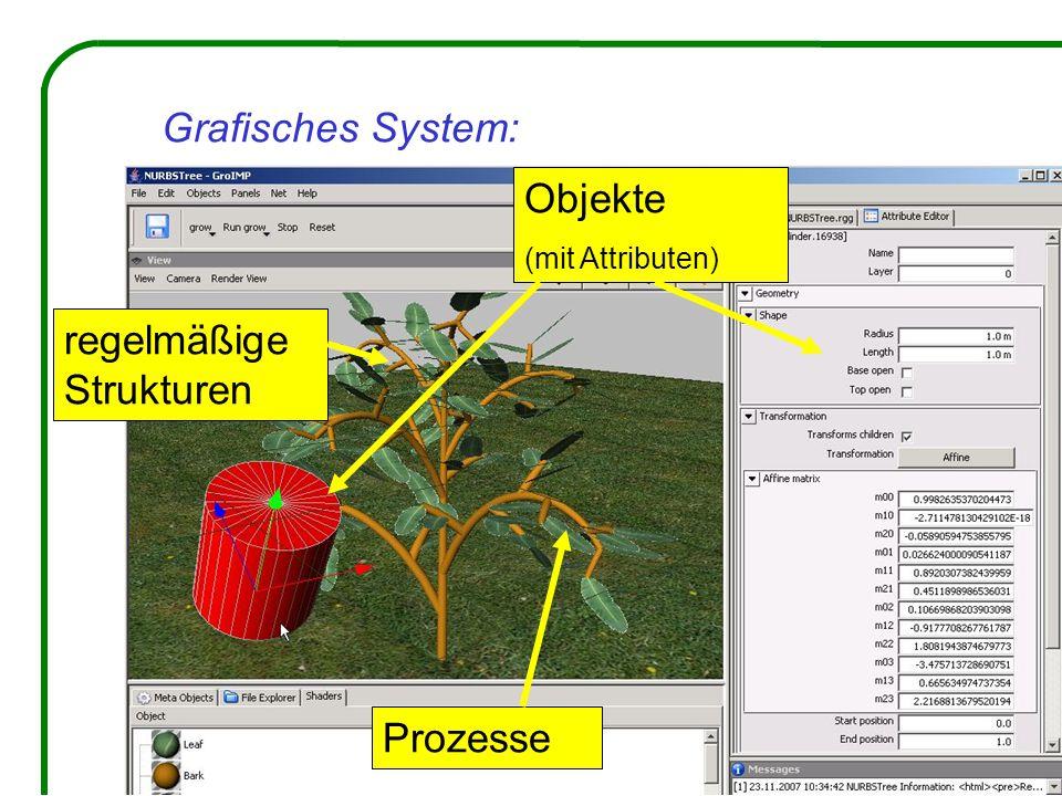 Grafisches System: Objekte (mit Attributen) regelmäßige Strukturen Prozesse