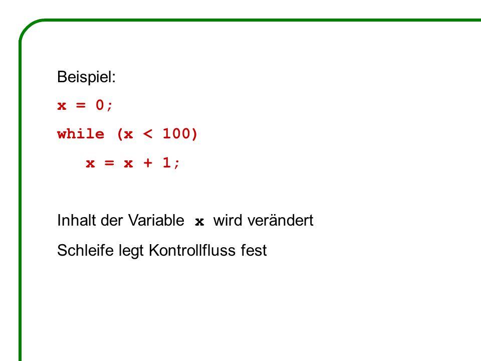 Beispiel: x = 0; while (x < 100) x = x + 1; Inhalt der Variable x wird verändert Schleife legt Kontrollfluss fest