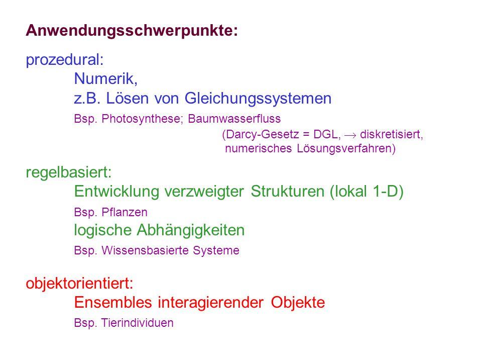 Anwendungsschwerpunkte: prozedural: Numerik, z.B. Lösen von Gleichungssystemen Bsp.
