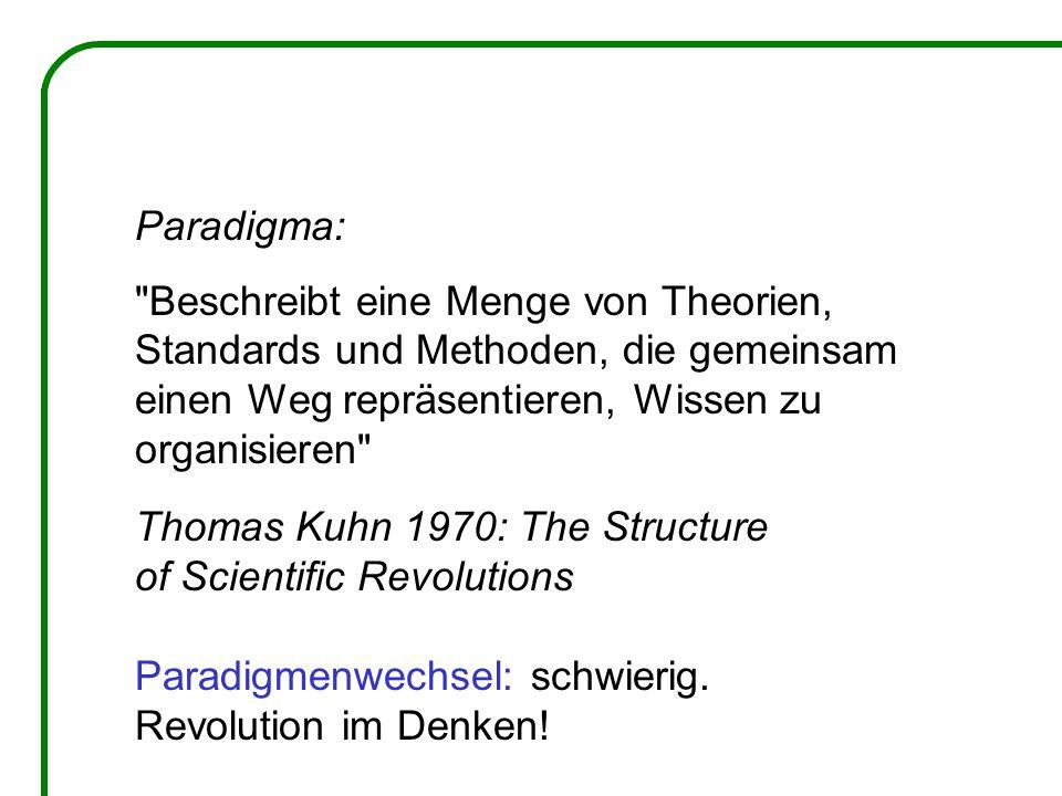 Paradigma: Beschreibt eine Menge von Theorien, Standards und Methoden, die gemeinsam einen Weg repräsentieren, Wissen zu organisieren Thomas Kuhn 1970: The Structure of Scientific Revolutions Paradigmenwechsel: schwierig.