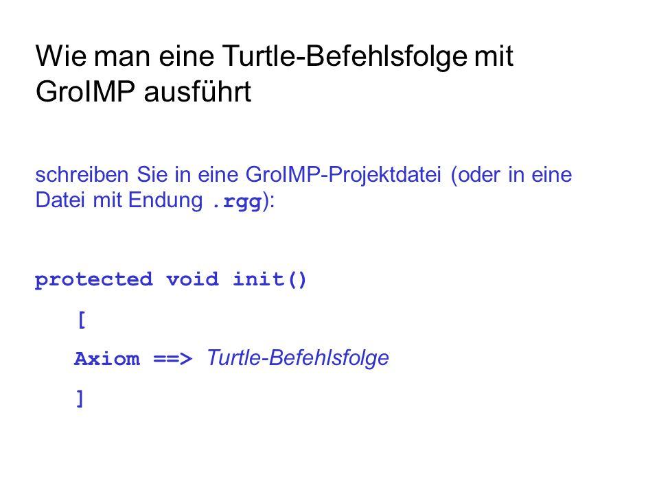 Wie man eine Turtle-Befehlsfolge mit GroIMP ausführt schreiben Sie in eine GroIMP-Projektdatei (oder in eine Datei mit Endung.rgg ): protected void init() [ Axiom ==> Turtle-Befehlsfolge ]