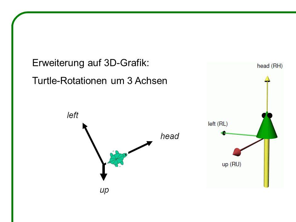 Erweiterung auf 3D-Grafik: Turtle-Rotationen um 3 Achsen head left up