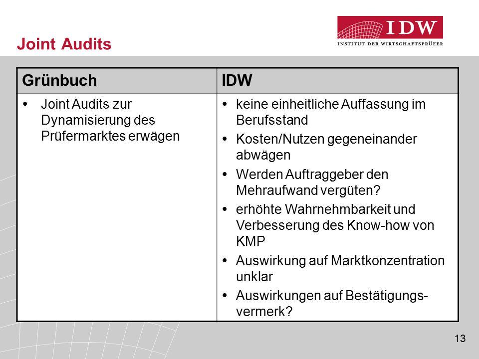 13 Joint Audits GrünbuchIDW  Joint Audits zur Dynamisierung des Prüfermarktes erwägen  keine einheitliche Auffassung im Berufsstand  Kosten/Nutzen