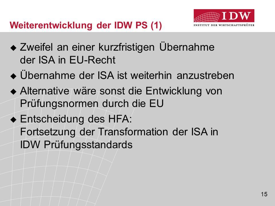 15  Zweifel an einer kurzfristigen Übernahme der ISA in EU-Recht  Übernahme der ISA ist weiterhin anzustreben  Alternative wäre sonst die Entwicklu