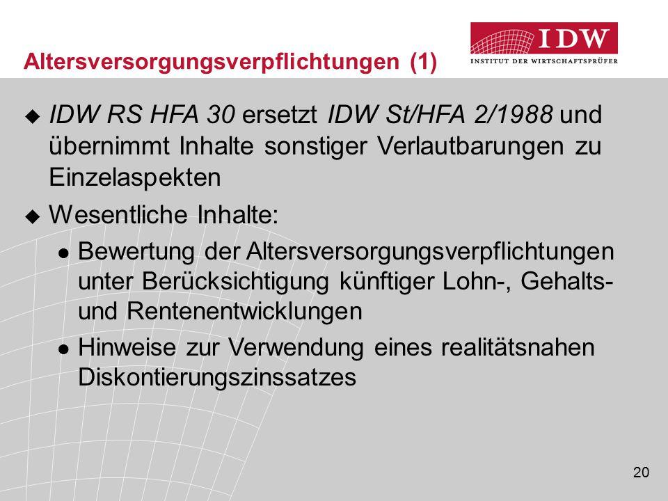 20  IDW RS HFA 30 ersetzt IDW St/HFA 2/1988 und übernimmt Inhalte sonstiger Verlautbarungen zu Einzelaspekten  Wesentliche Inhalte: Bewertung der Al