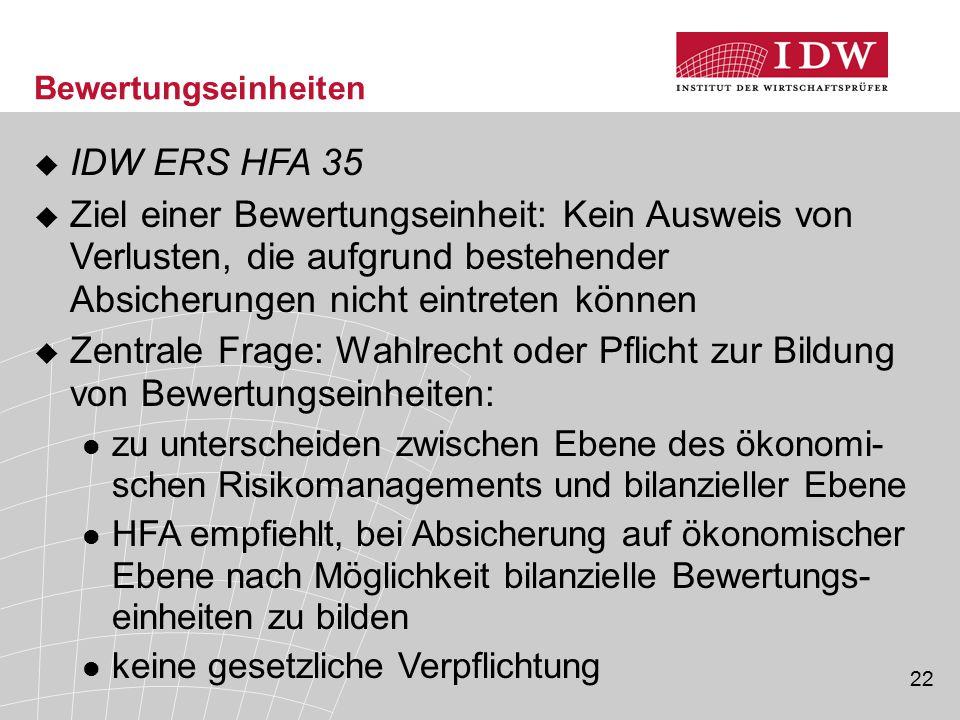 22 Bewertungseinheiten  IDW ERS HFA 35  Ziel einer Bewertungseinheit: Kein Ausweis von Verlusten, die aufgrund bestehender Absicherungen nicht eintr