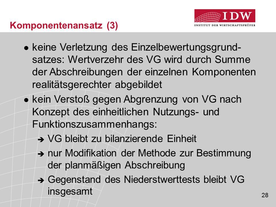 28 Komponentenansatz (3) keine Verletzung des Einzelbewertungsgrund- satzes: Wertverzehr des VG wird durch Summe der Abschreibungen der einzelnen Komp