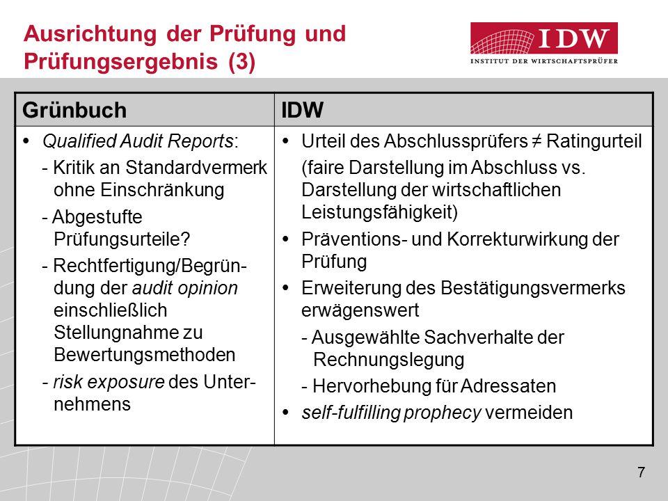 7 Ausrichtung der Prüfung und Prüfungsergebnis (3) GrünbuchIDW  Qualified Audit Reports: - Kritik an Standardvermerk ohne Einschränkung - Abgestufte