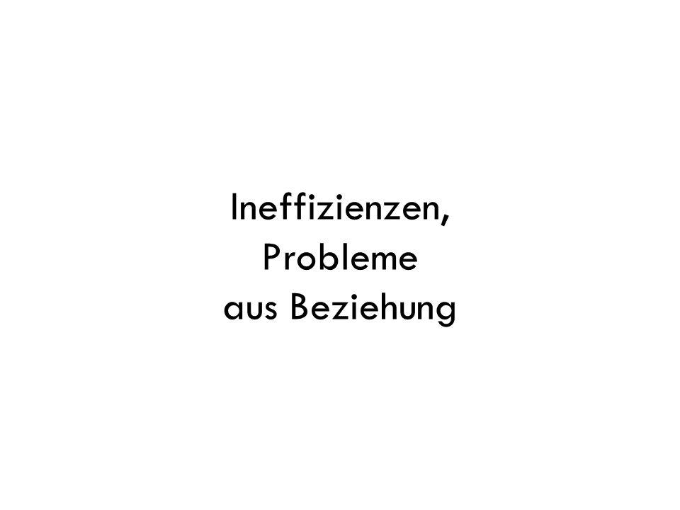 Ineffizienzen, Probleme aus Beziehung
