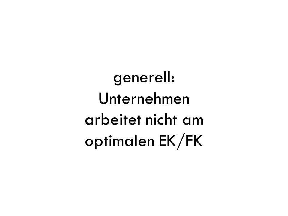 generell: Unternehmen arbeitet nicht am optimalen EK/FK