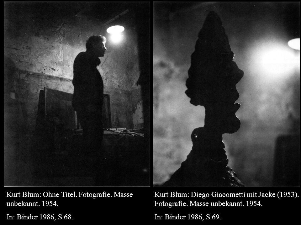 Kurt Blum: Diego Giacometti mit Jacke (1953). Fotografie.