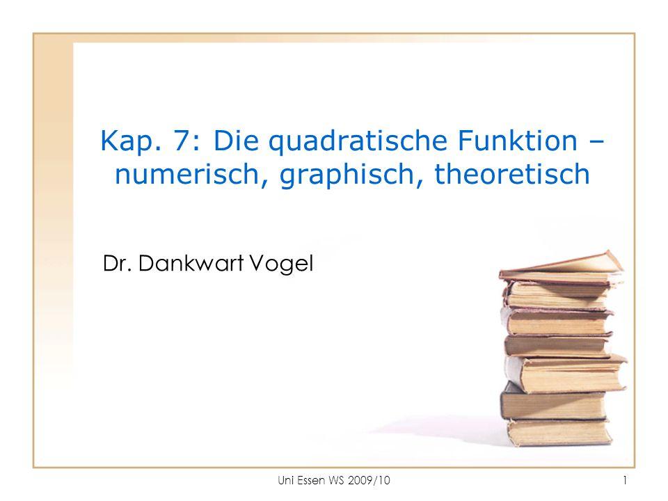 Uni Essen WS 2009/101 Kap. 7: Die quadratische Funktion – numerisch, graphisch, theoretisch Dr. Dankwart Vogel