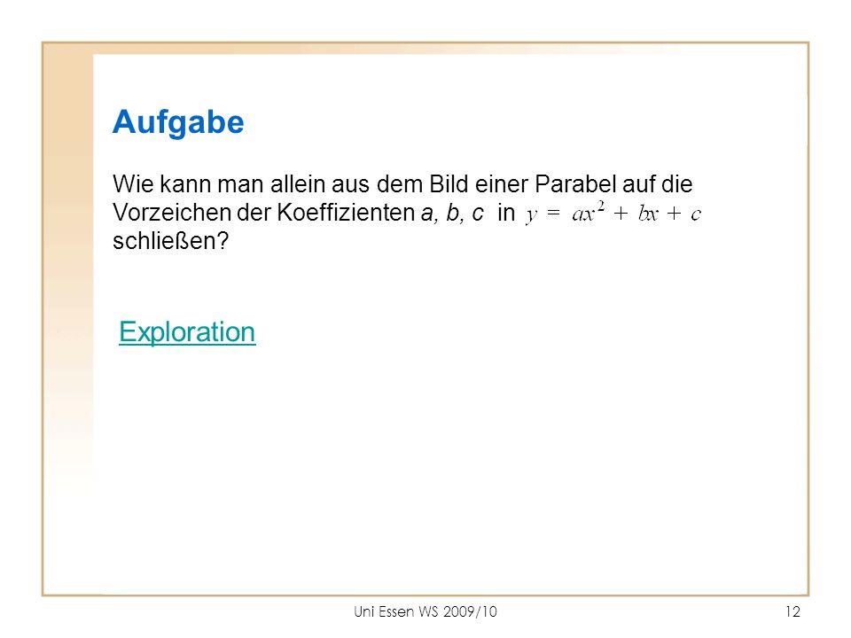 Uni Essen WS 2009/1012 Aufgabe Wie kann man allein aus dem Bild einer Parabel auf die Vorzeichen der Koeffizienten a, b, c in schließen? Exploration