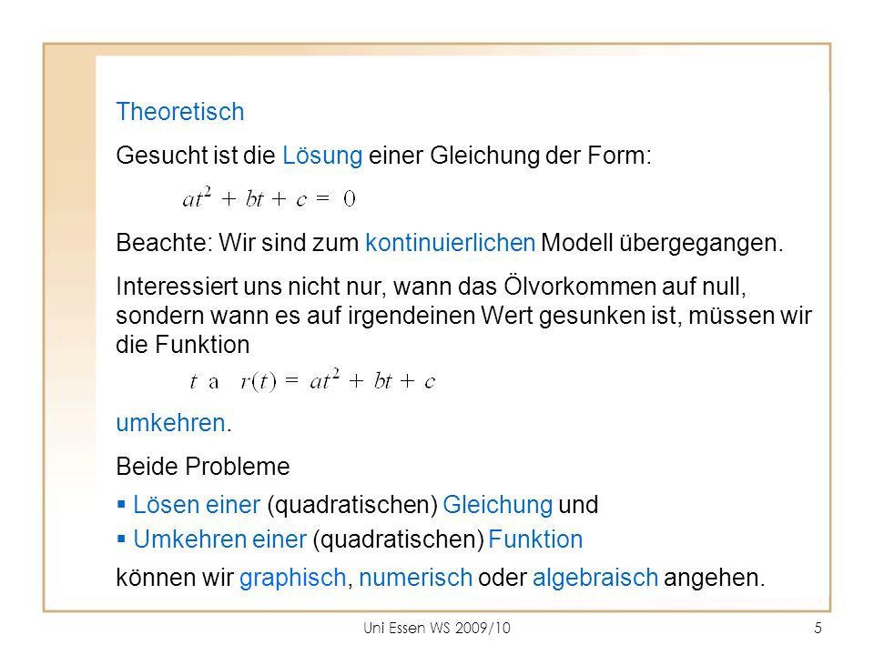 Uni Essen WS 2009/105 Theoretisch Gesucht ist die Lösung einer Gleichung der Form: Beachte: Wir sind zum kontinuierlichen Modell übergegangen. Interes