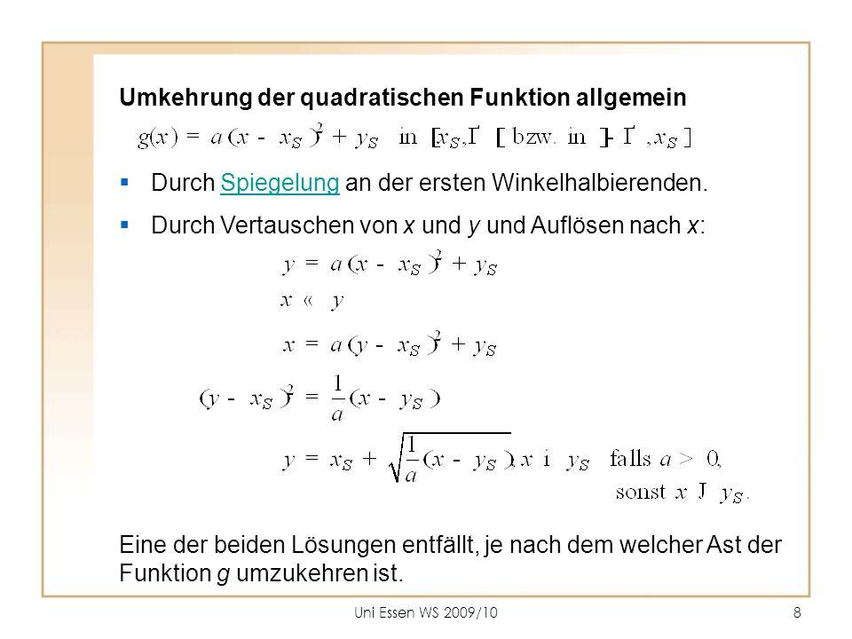 Uni Essen WS 2009/108 Umkehrung der quadratischen Funktion allgemein  Durch Spiegelung an der ersten Winkelhalbierenden.Spiegelung  Durch Vertausche