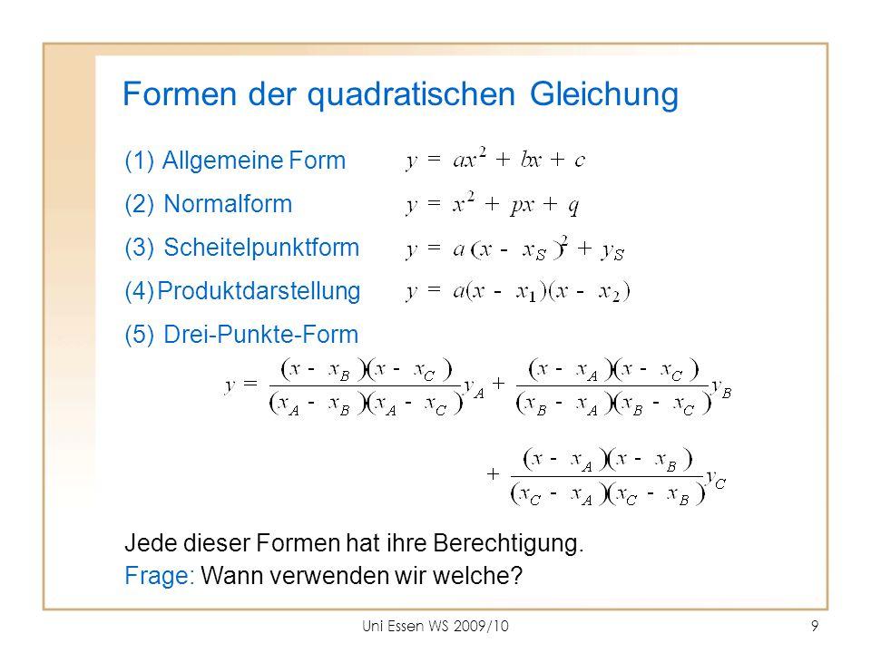 Uni Essen WS 2009/109 Formen der quadratischen Gleichung (1) Allgemeine Form (2) Normalform (3) Scheitelpunktform (4)Produktdarstellung (5) Drei-Punkt
