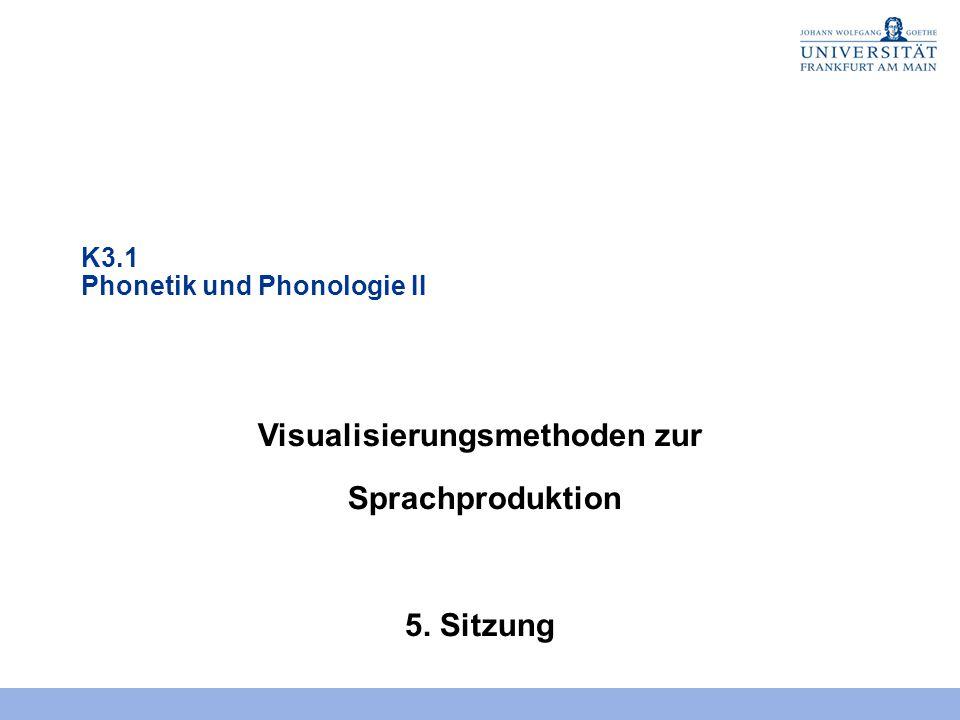 K3.1 Phonetik und Phonologie II Visualisierungsmethoden zur Sprachproduktion 5. Sitzung