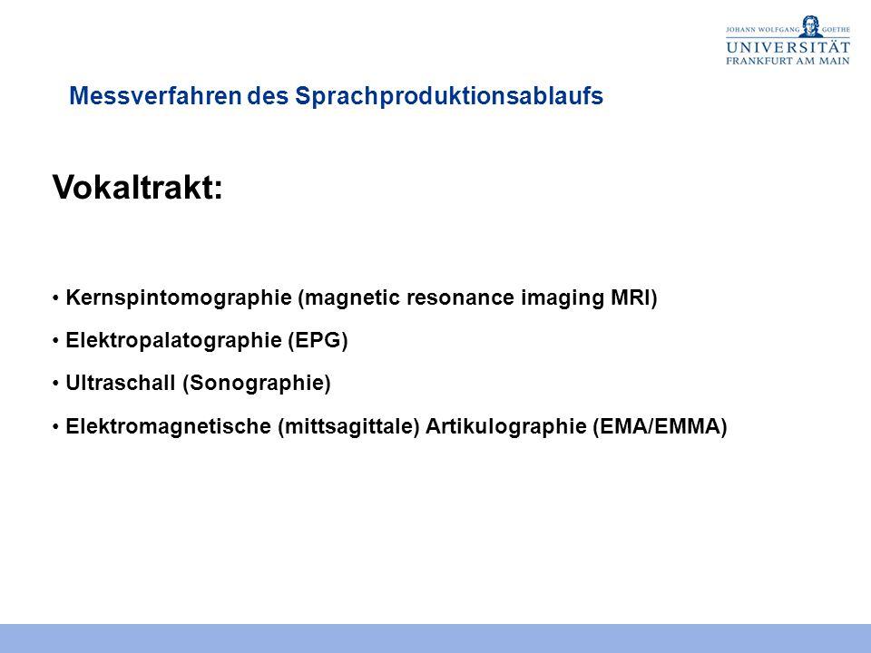 Messverfahren des Sprachproduktionsablaufs Vokaltrakt: Kernspintomographie (magnetic resonance imaging MRI) Elektropalatographie (EPG) Ultraschall (Sonographie) Elektromagnetische (mittsagittale) Artikulographie (EMA/EMMA)
