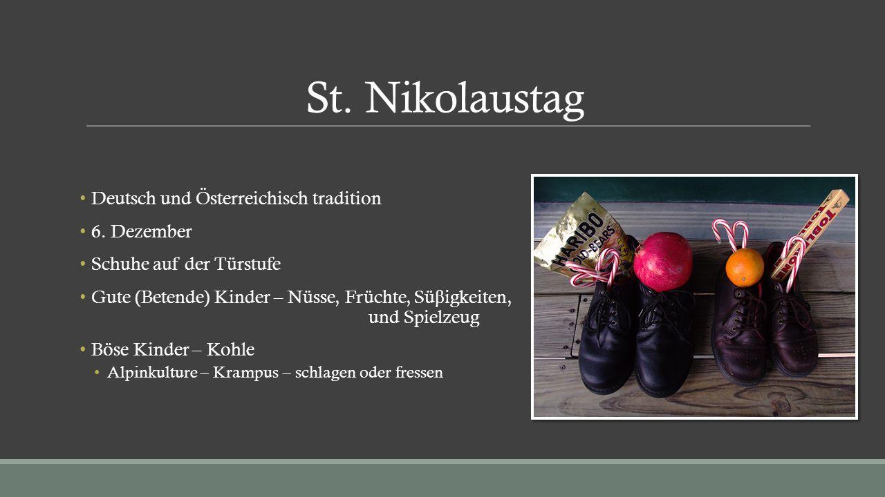 St. Nikolaustag Deutsch und Österreichisch tradition 6. Dezember Schuhe auf der Türstufe Gute (Betende) Kinder – Nüsse, Früchte, Sü β igkeiten, und Sp