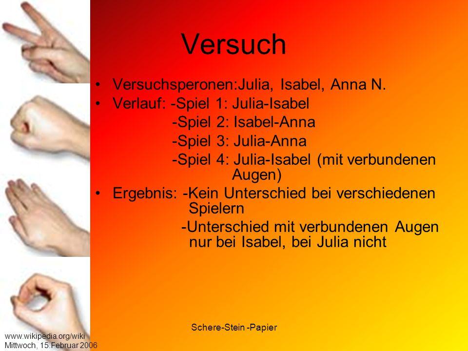 Schere-Stein -Papier www.wikipedia.org/wiki Mittwoch, 15.Februar 2006 Versuch Versuchsperonen:Julia, Isabel, Anna N. Verlauf: -Spiel 1: Julia-Isabel -