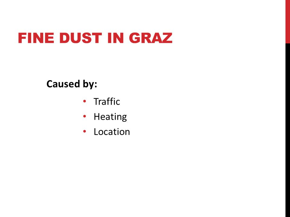 FINE DUST IN GRAZ Caused by: Traffic Heating Location