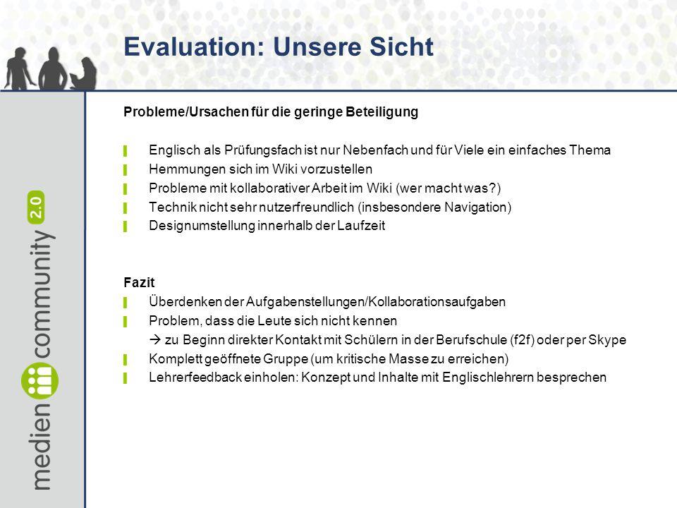 Evaluation: Unsere Sicht Probleme/Ursachen für die geringe Beteiligung ▌ Englisch als Prüfungsfach ist nur Nebenfach und für Viele ein einfaches Thema