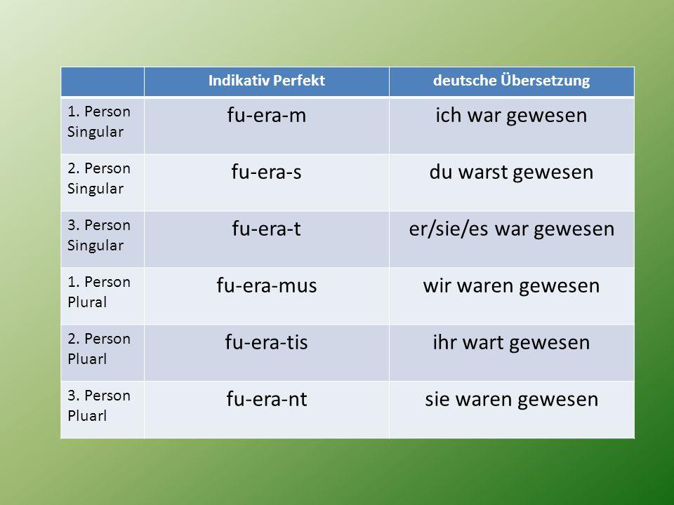 Indikativ Perfektdeutsche Übersetzung 1. Person Singular fu-era-mich war gewesen 2. Person Singular fu-era-sdu warst gewesen 3. Person Singular fu-era