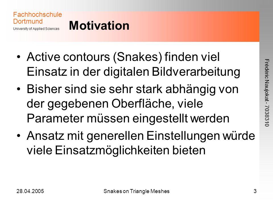 Fachhochschule Dortmund University of Applied Sciences Frédéric Naujokat - 7038310 28.04.2005Snakes on Triangle Meshes3 Motivation Active contours (Sn