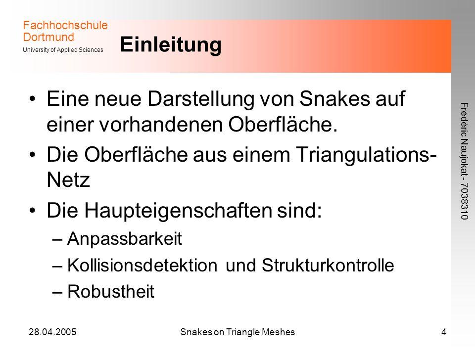 Fachhochschule Dortmund University of Applied Sciences Frédéric Naujokat - 7038310 28.04.2005Snakes on Triangle Meshes5 Verwendetes Verfahren - Darstellung Snakes sind Polygone im Raum Um sicherzustellen, dass die Snakes im zugrunde liegenden Dreieck-Netz eingebunden sind, gibt es zwei Einschränkungen: Die Eckpunkte des Snakes (Snaxels) liegen auf Netz-Kanten Die Segmente des Snakes liegen im Innenraum eines Dreiecks