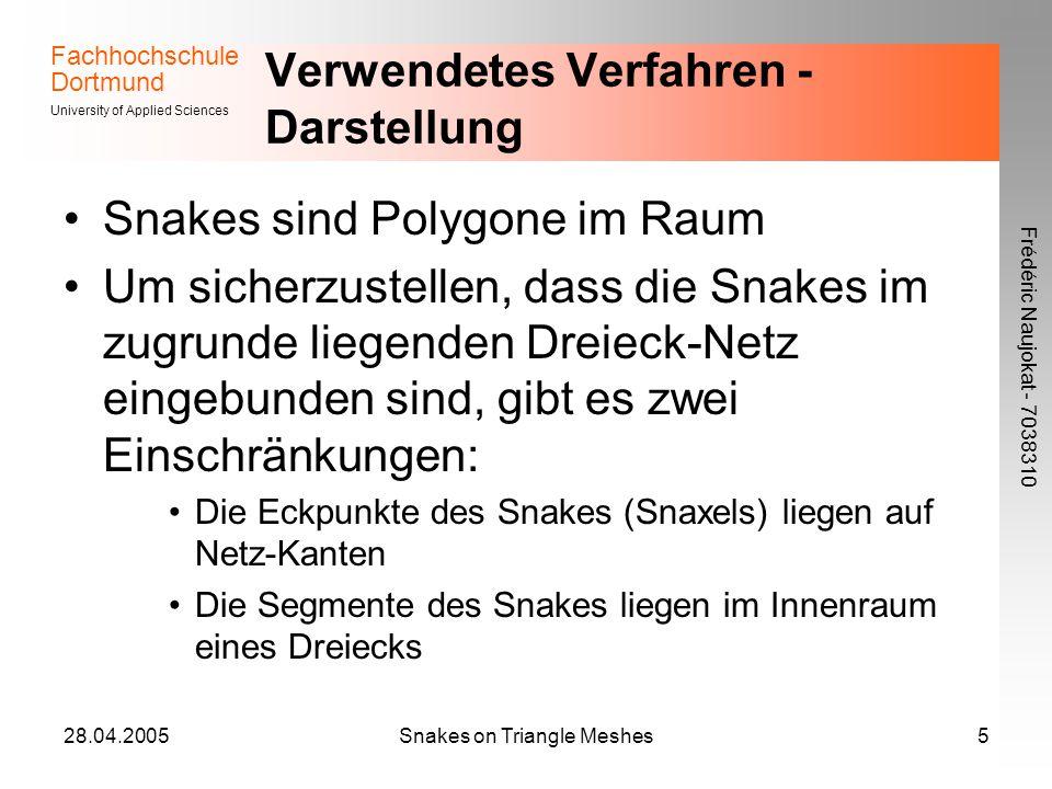 Fachhochschule Dortmund University of Applied Sciences Frédéric Naujokat - 7038310 28.04.2005Snakes on Triangle Meshes5 Verwendetes Verfahren - Darste