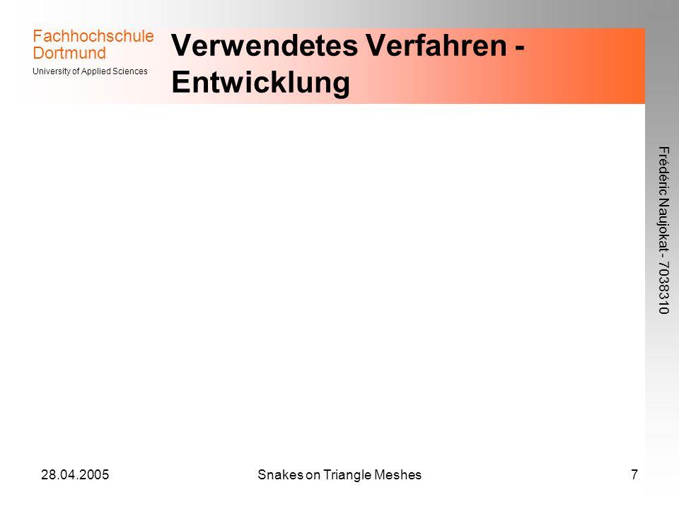 Fachhochschule Dortmund University of Applied Sciences Frédéric Naujokat - 7038310 28.04.2005Snakes on Triangle Meshes7 Verwendetes Verfahren - Entwic