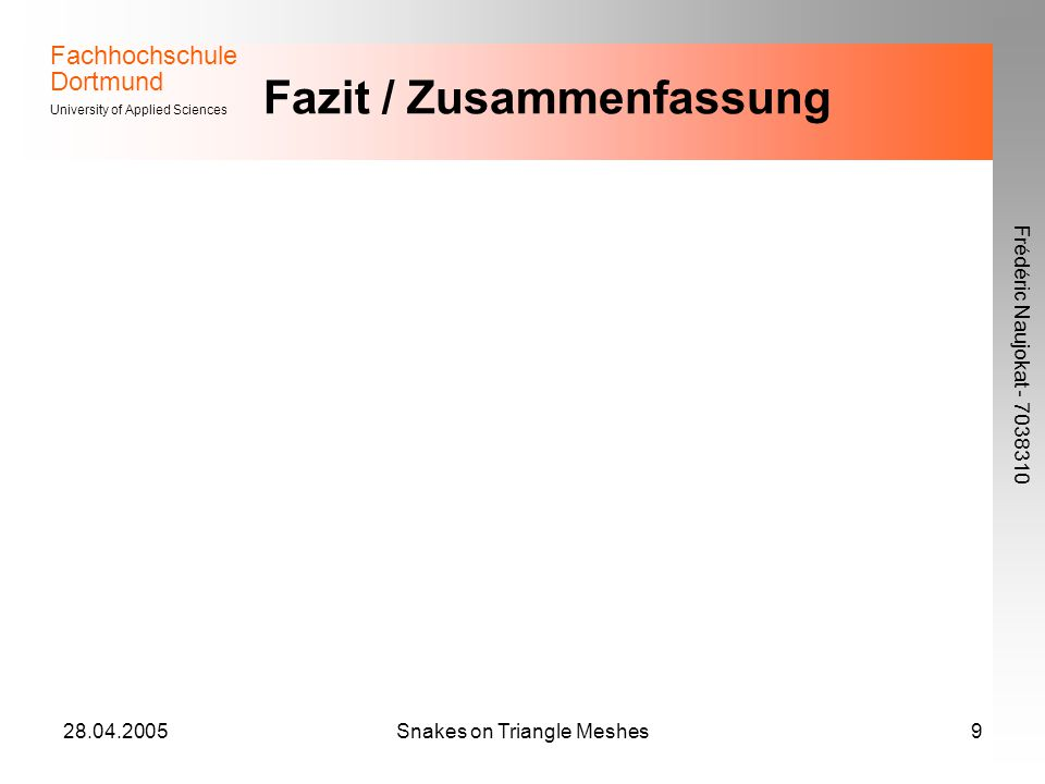 Fachhochschule Dortmund University of Applied Sciences Frédéric Naujokat - 7038310 28.04.2005Snakes on Triangle Meshes9 Fazit / Zusammenfassung