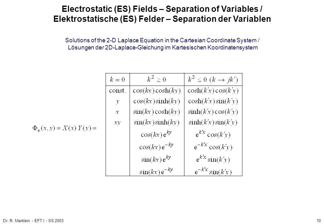 Dr. R. Marklein - EFT I - SS 200310 ES Fields / ES Felder Poisson and Laplace Equation / Poisson- und Laplace-Gleichung (3) Electrostatic (ES) Fields
