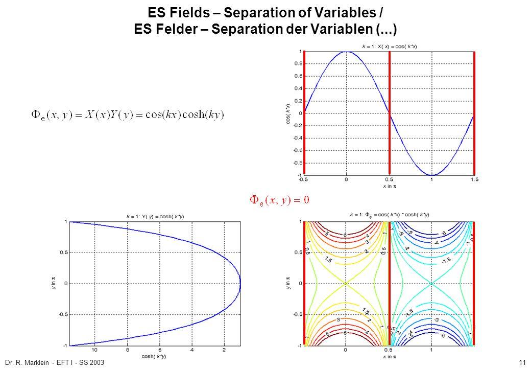 Dr. R. Marklein - EFT I - SS 200311 ES Fields – Separation of Variables / ES Felder – Separation der Variablen (...)