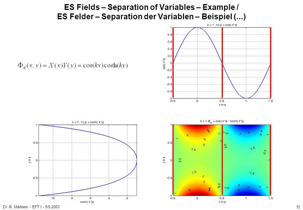 Dr. R. Marklein - EFT I - SS 200312 ES Fields – Separation of Variables – Example / ES Felder – Separation der Variablen – Beispiel (...)