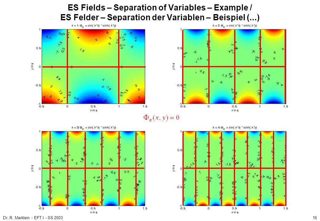 Dr. R. Marklein - EFT I - SS 200316 ES Fields – Separation of Variables – Example / ES Felder – Separation der Variablen – Beispiel (...)