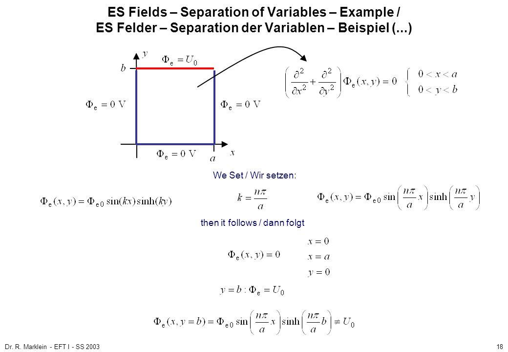 Dr. R. Marklein - EFT I - SS 200318 ES Fields – Separation of Variables – Example / ES Felder – Separation der Variablen – Beispiel (...) then it foll