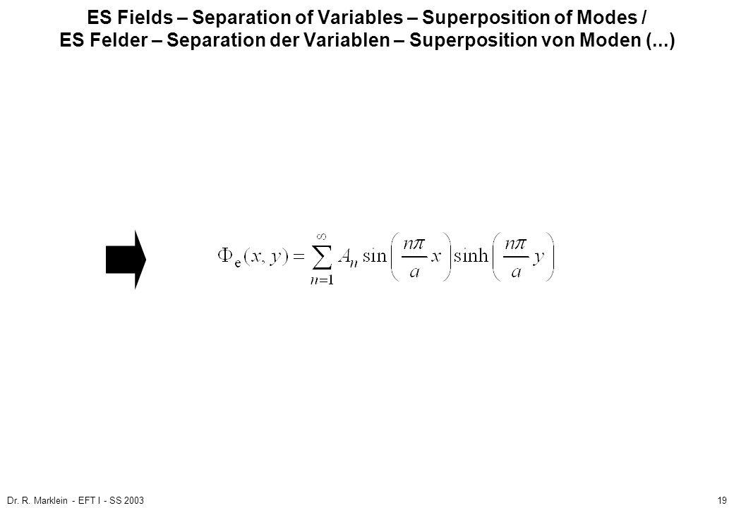 Dr. R. Marklein - EFT I - SS 200319 ES Fields – Separation of Variables – Superposition of Modes / ES Felder – Separation der Variablen – Superpositio
