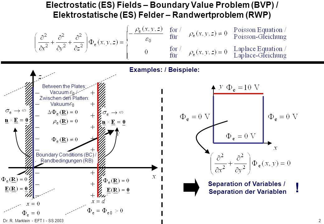 Dr. R. Marklein - EFT I - SS 20032 Electrostatic (ES) Fields – Boundary Value Problem (BVP) / Elektrostatische (ES) Felder – Randwertproblem (RWP) Exa