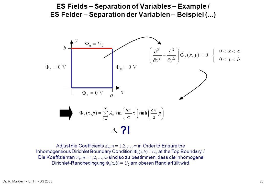 Dr. R. Marklein - EFT I - SS 200320 ES Fields – Separation of Variables – Example / ES Felder – Separation der Variablen – Beispiel (...) ?! Adjust di