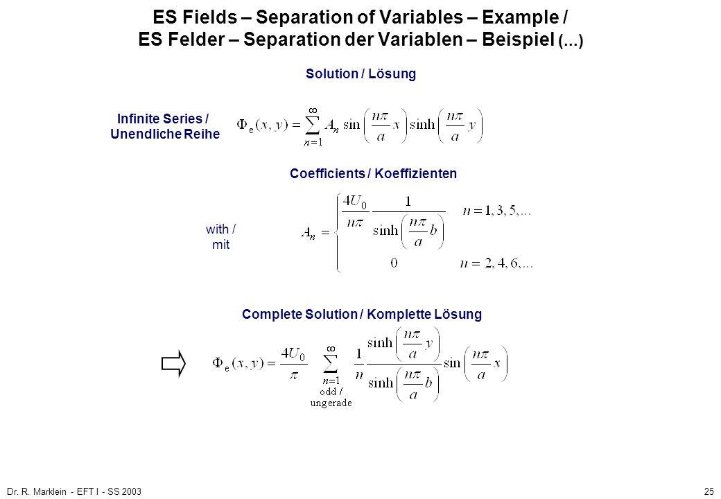 Dr. R. Marklein - EFT I - SS 200325 ES Fields – Separation of Variables – Example / ES Felder – Separation der Variablen – Beispiel (...) Solution / L