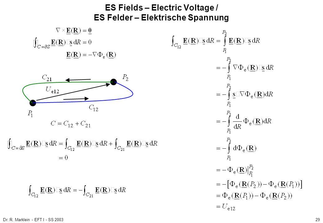 Dr. R. Marklein - EFT I - SS 200329 ES Fields – Electric Voltage / ES Felder – Elektrische Spannung