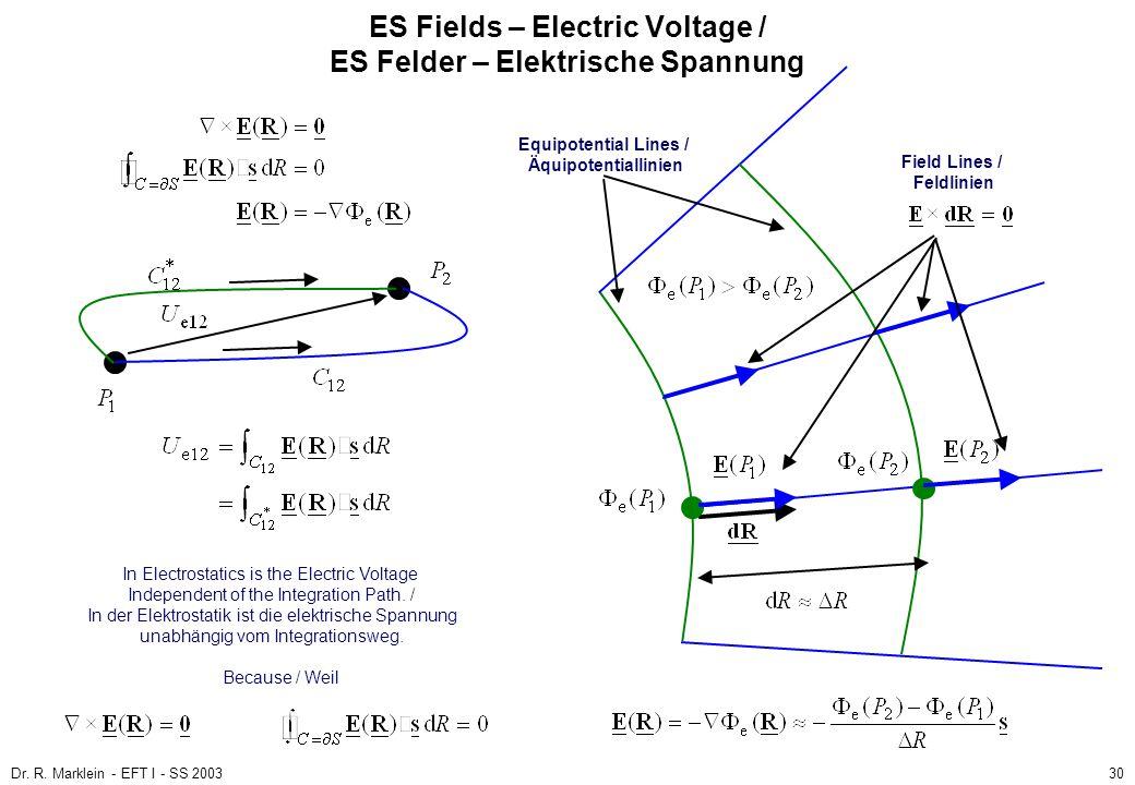 Dr. R. Marklein - EFT I - SS 200330 ES Fields – Electric Voltage / ES Felder – Elektrische Spannung In Electrostatics is the Electric Voltage Independ