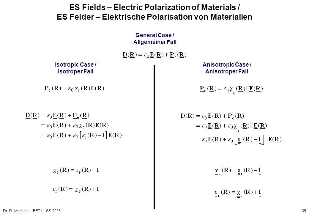 Dr. R. Marklein - EFT I - SS 200335 ES Fields – Electric Polarization of Materials / ES Felder – Elektrische Polarisation von Materialien General Case