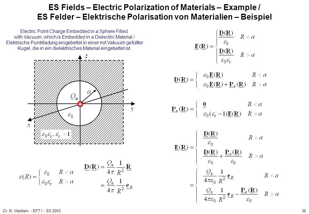 Dr. R. Marklein - EFT I - SS 200336 ES Fields – Electric Polarization of Materials – Example / ES Felder – Elektrische Polarisation von Materialien –