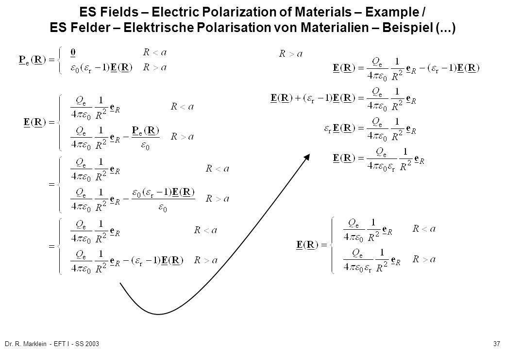 Dr. R. Marklein - EFT I - SS 200337 ES Fields – Electric Polarization of Materials – Example / ES Felder – Elektrische Polarisation von Materialien –