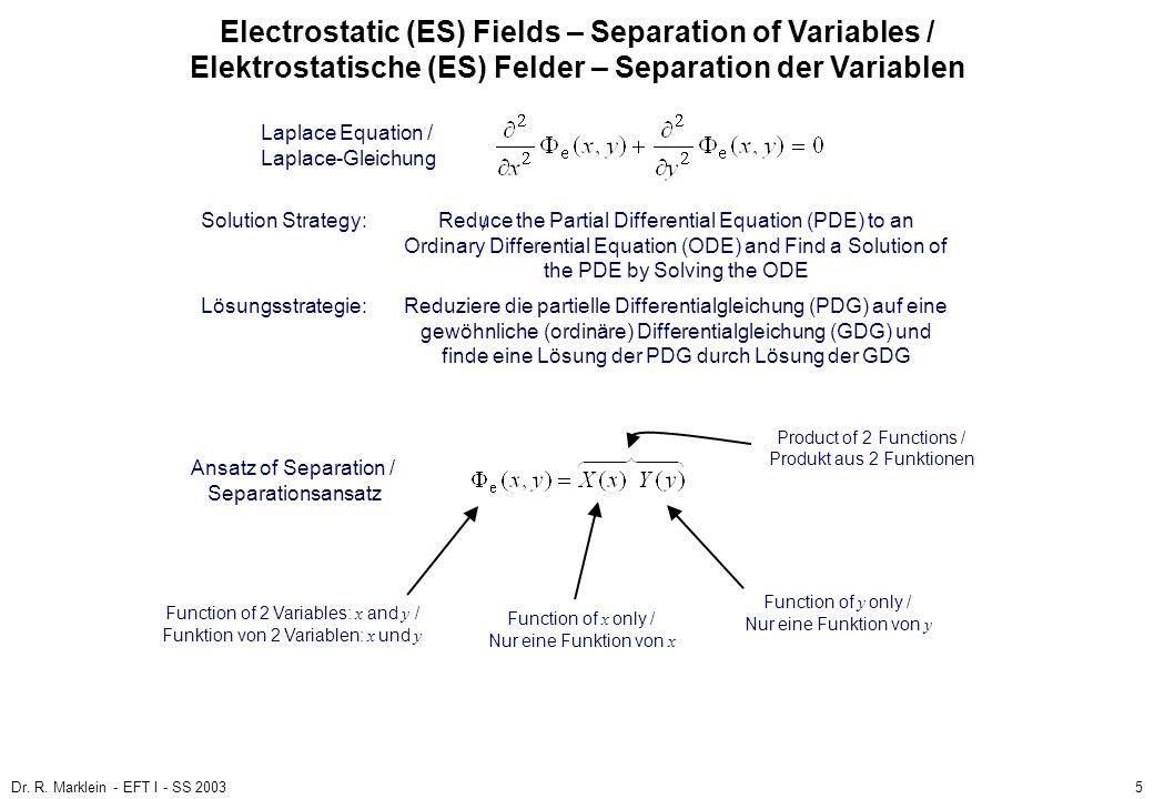 Dr. R. Marklein - EFT I - SS 20035 ES Fields / ES Felder Poisson and Laplace Equation / Poisson- und Laplace-Gleichung (3) Electrostatic (ES) Fields –